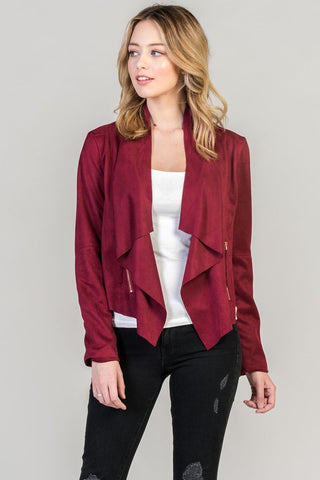 Long Sleeve Faux Suede Jacket-LA0199T