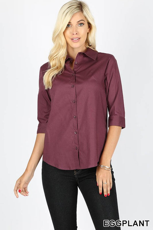 COTTON 3/4 FOLDED SLEEVE CLASSIC SHIRT-GT-045