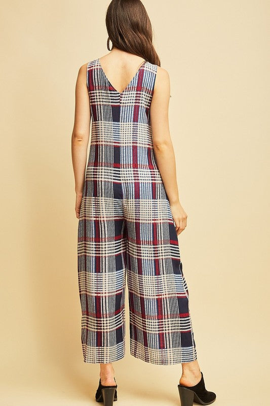 NAVY Plaid print v neck jumpsuit with side pockets