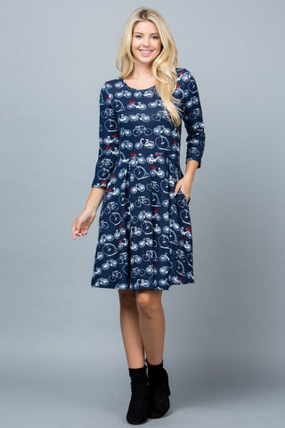BICYCLE PRINT SWEATER DRESS WITH POCKETS-LA-1830