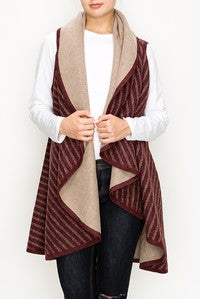 Contrasting  Color Striped Drape Vest-FC-AV284