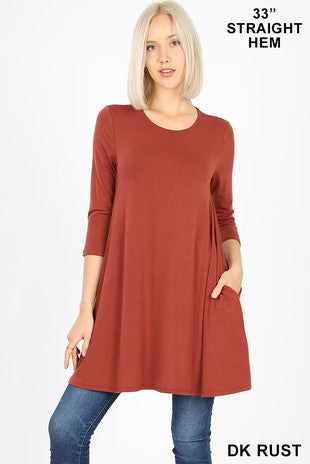 Swing Tunic with Pockets-RT-9928P-II