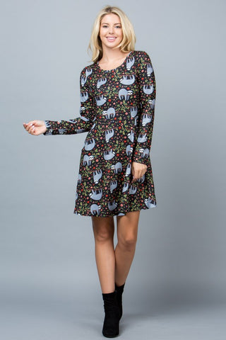 SLOTH PRINT LONG SLEEVE SWEATER DRESS.-LA-1825