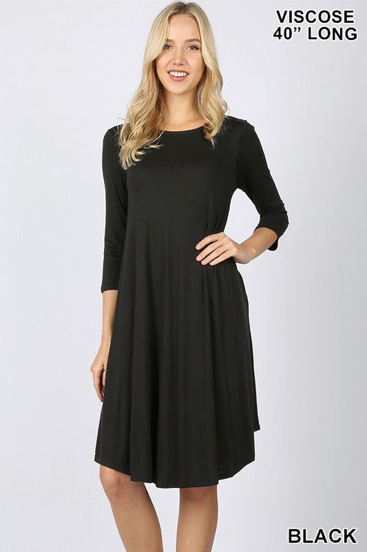 VISCOSE 3/4 SLEEVE ROUND NECK KNEE LENGTH DRESS-  VD -7002 II 40 INCH