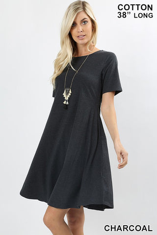 SHORT SLEEVE A-LINE DRESS-CS-4595P