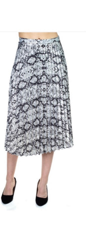 Pleated satin skirt with snake skin pattern