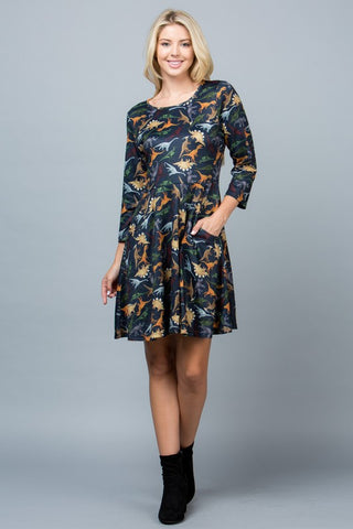 Dino Dress w/ Sleeves