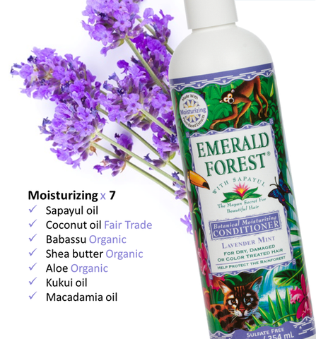 Emerald Forest Moisturizing Conditioner, Sulfate Free, Silicone Free, Cruelty Free & Vegan Friendly Conditioner, Organic, Fair Trade ingredients, Sapayul, Coconut, Babassu, Shea, Aloe, Kukui, Macadamia.