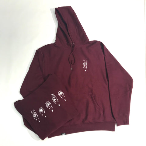 Venue Skateboards Sign Language Hooded Sweatshirt Burgundy