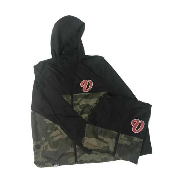 Venue Hooded Zip Windbreaker - Black/Forest Camo w/Red V Logo