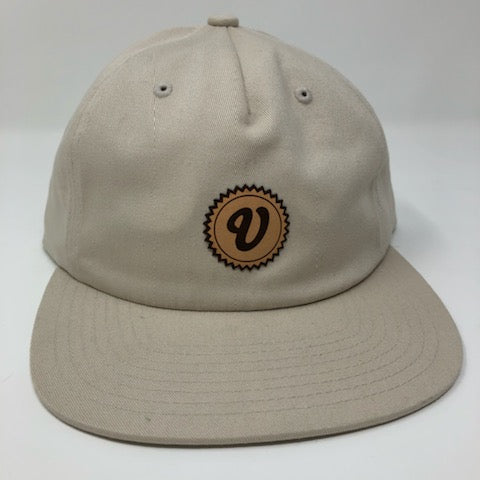 Venue 5 Panel Unstructured Pinch Front Camper Hat W/Leather Applique V - Birch