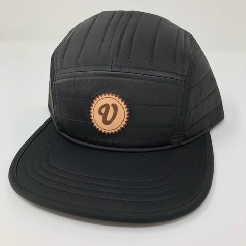 Venue Quilted 5 Panel Camper Hat W/Leather Applique V - Black