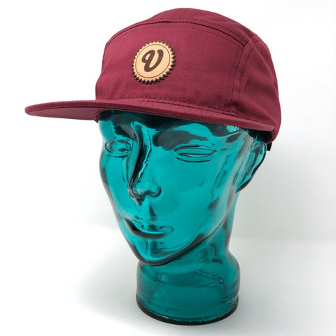 Venue 5 Panel Camper Hat W/Leather Applique V - Maroon