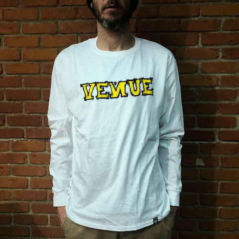 Venue Scratchy L/S T-Shirt - White - Venue Skateboards