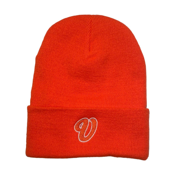 Venue Cursive V Beanie Orange - Venue Skateboards