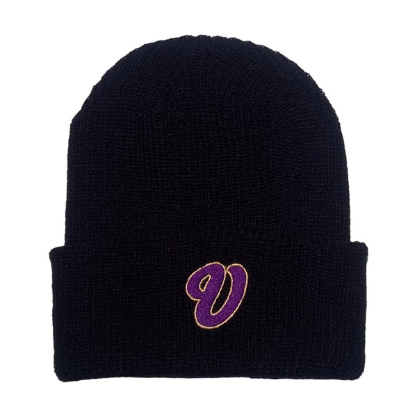 Venue Cursive V Embroidered Beanie Black Beanie Purple V with Gold Outline