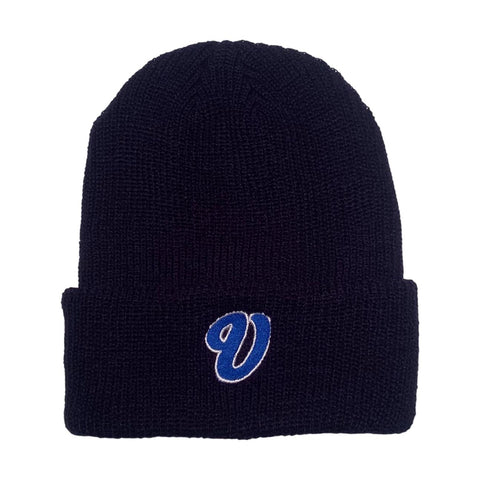 Venue Cursive V Beanie Navy - Venue Skateboards