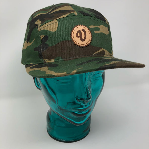 Venue 5 Panel Camper Hat W/Leather Applique V - Camo