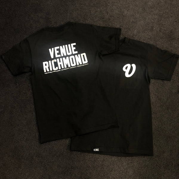 Venue Black T-Shirt with Chrome Ink