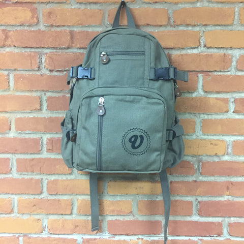 Venue Canvas Compact Backpack - Olive Drab - Venue Skateboards