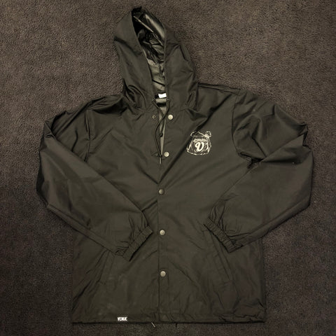 Venue Hooded Coaches Jacket Blk w reflective ink front