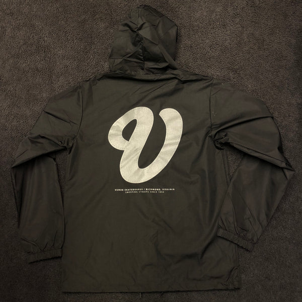 Venue Hooded Coaches Jacket Blk reflective ink back