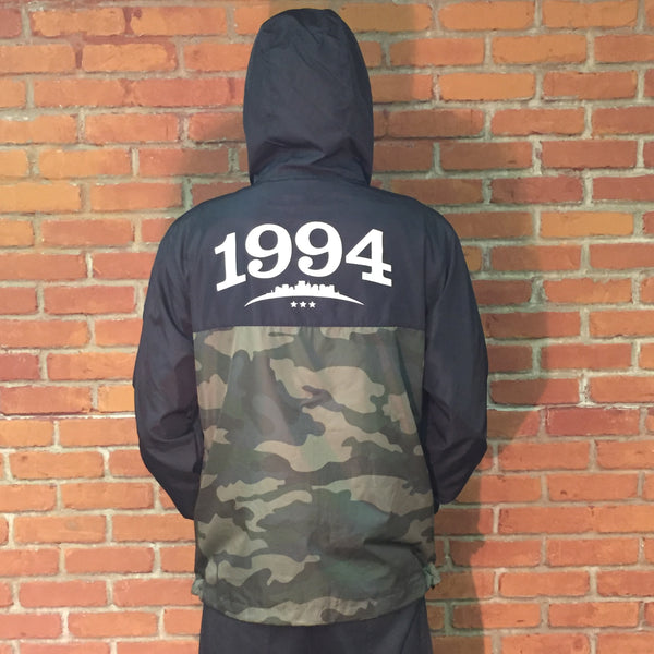 Venue Zip Hooded Lightweight Windbreaker Blk/Forest Camo-Back