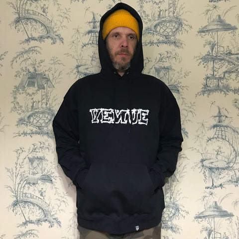 Venue Scratchy Logo Hooded Sweatshirt - Black - Venue Skateboards