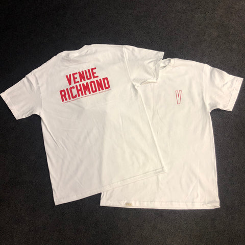 Venue Richmond Short Sleeve T - White with Red Ink