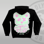 DEAD BEAR SOCIETY Pullover Hoodie Pastel green & pink oversized back print