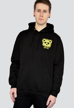 DEAD BEAR SOCIETY Paint Pullover Hoodie oversized back print in yellow blue pink on a black hoodie