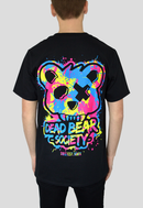 Dead Bear Society Paint Black T-shirt Oversized Back print blue yellow pink