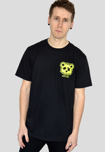 Dead Bear Society Paint Black T-shirt front print blue yellow pink