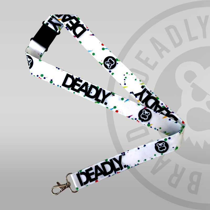 DEADLY. PAINT Lanyard white lanyard with splats and marks Deadly Brand