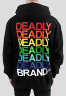DEADLY BRAND® design printed in various colours on the back of a black hoodie