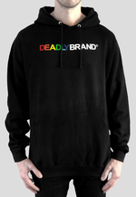 DEADLY BRAND® design various colour chest print on a black hoodie