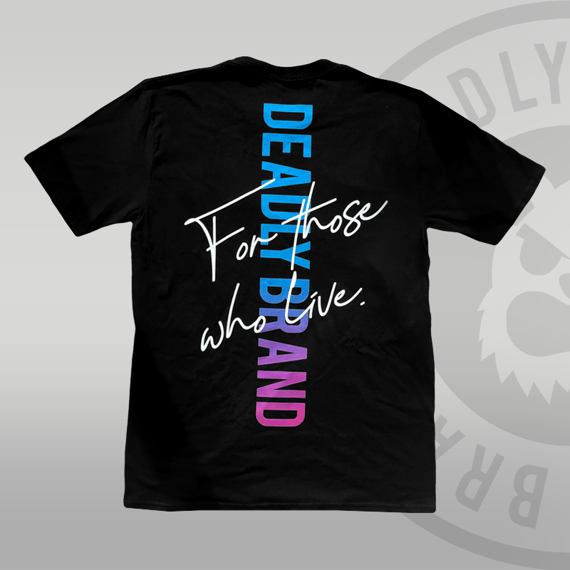 DEADLY BRAND Back T-shirt (With Back Print) blue to pink fade oversized print