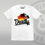 Deadly Sunset White T-shirt Summer sun palm trees