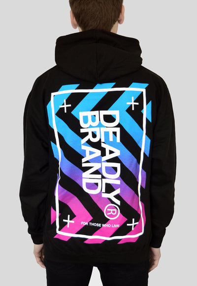 DEADLY BRAND® Fade Pullover Hoodie Oversized backprint blue pink