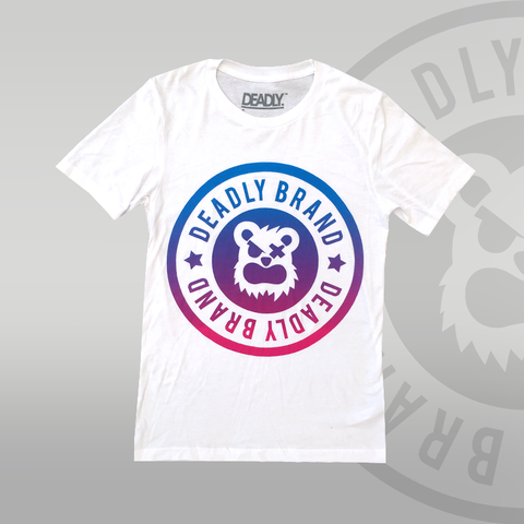 Deadly Brand Fade blue to pink white tshirt