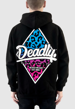 Deadly Leopard Pullover Hoodie Back print blue to pink fade
