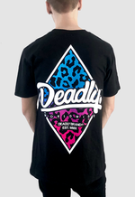 Deadly Leopard Pullover T-shirt Back print blue to pink fade
