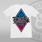 Deadly Leopard Print T-shirt White blue and pink fade