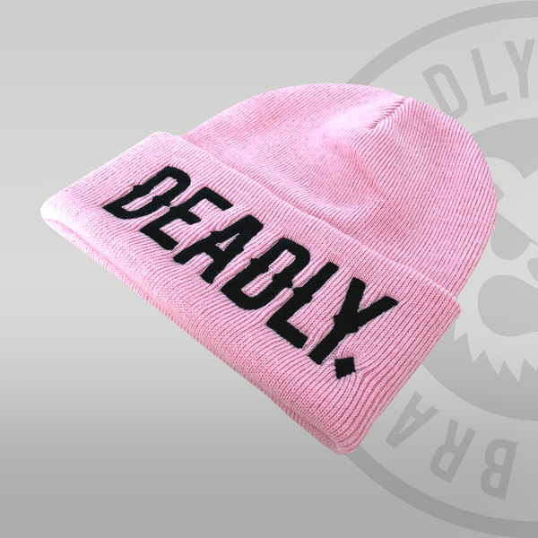 Deadly Cuffed Pink Beanie