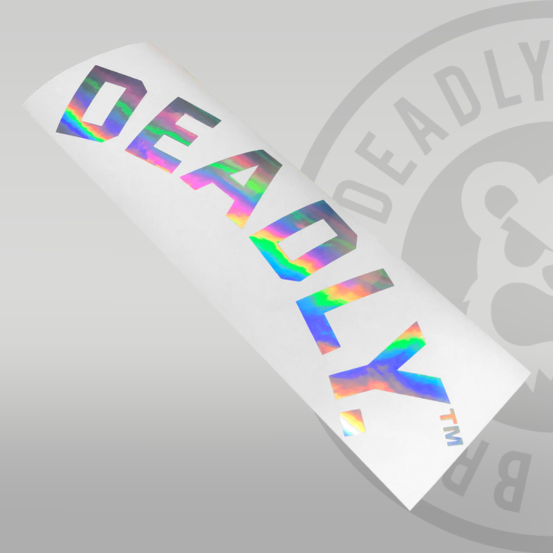 DEADLY. Curved Rear Windscreen Sticker - Large 58cm
