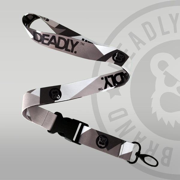 Deadly Urban Camo Lanyard Camouflage white grey and black clip