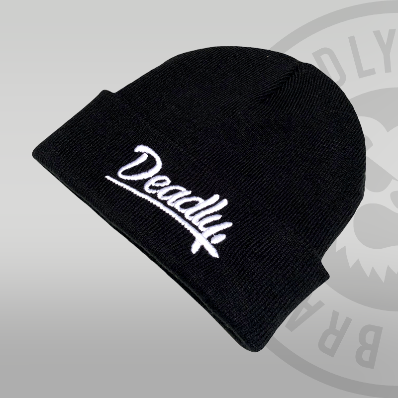 DEADLY. Script Cuffed Black Beanie