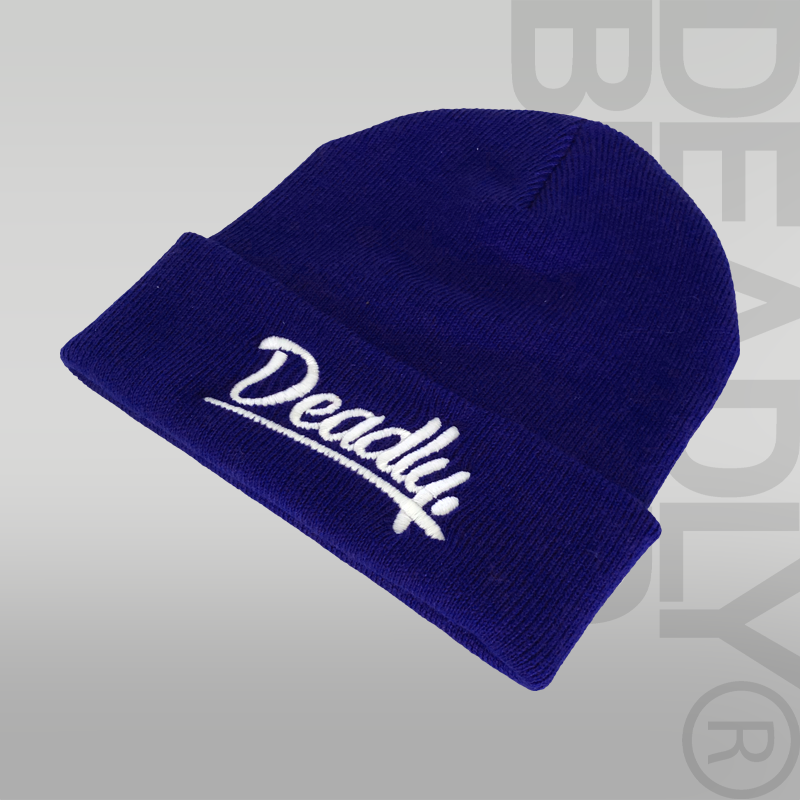 DEADLY. Script Cuffed Blue Beanie