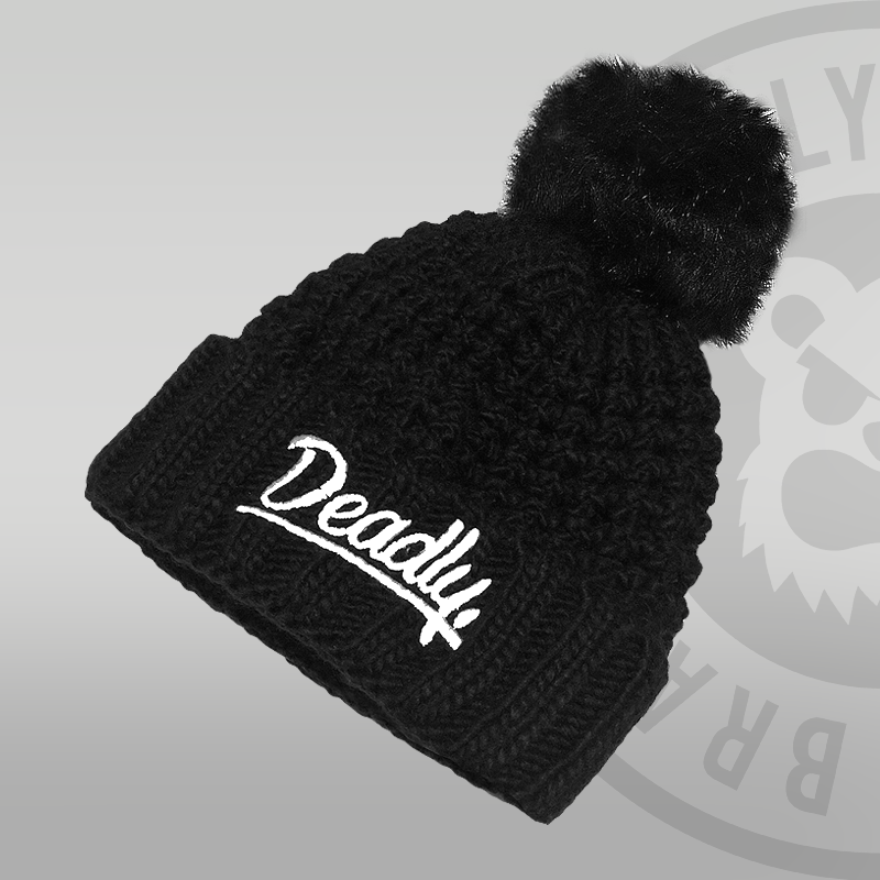 Deadly Popcorn Black Pom Pom Beanie