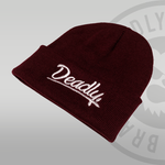 Deadly Script Cuffed Burgundy Beanie